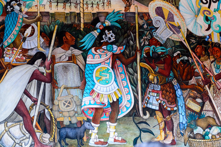 MEXICO CITY, MEX - OCT 27, 2016: Diego Rivera mural, National Palace (Palacio Nacional), seat of the federal executive in Mexico City