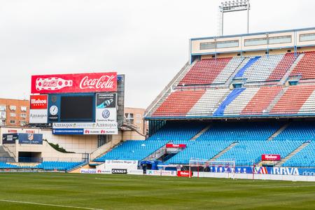 MADRID, SPAIN - FEB 11, 2015: Vicente Calderon Football Stadium. Its the home stadium of La Liga football club Atletico Madrid