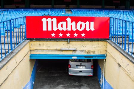 MADRID, SPAIN - FEB 11, 2015: Mahou beer logo at the Vicente Calderon Football Stadium. Its the home stadium of La Liga football club Atletico Madrid Editorial