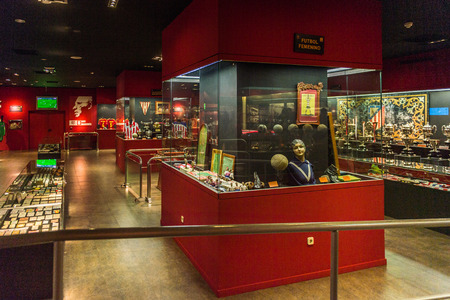 MADRID, SPAIN - FEB 11, 2015: Museum of the Atletico Madrid at the Vicente Calderon Football Stadium. Its the home stadium of La Liga football club Atletico Madrid