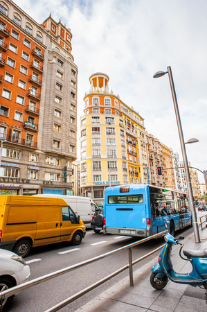 MADRID, SPAIN - JAN 29, 2015: Architecture of the Gran Via avenue (Broadway of Madrid), Madrid, Spain, Madrid is the capital and the largest city of Spain,