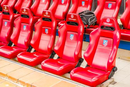 MADRID, SPAIN - FEB 11, 2015: Seats of the Vicente Calderon Football Stadium. Its the home stadium of La Liga football club Atletico Madrid