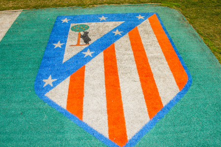 MADRID, SPAIN - FEB 11, 2015: Atletico MAdrid sign at the Vicente Calderon Football Stadium. Its the home stadium of La Liga football club Atletico Madrid