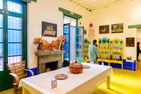 COYOACAN, MEXICO - OCT 28, 2016: Interior of the Blue House (La Casa Azul), historic house and art museum dedicated to the life and work of Mexican artist Frida Kahlo