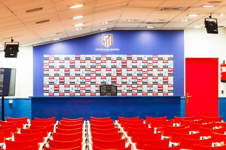MADRID, SPAIN - FEB 11, 2015: Press conference room at the Vicente Calderon Football Stadium. Its the home stadium of La Liga football club Atletico Madrid