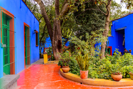 COYOACAN, MEXICO - OCT 28, 2016: Blue House (La Casa Azul), historic house and art museum dedicated to the life and work of Mexican artist Frida Kahlo