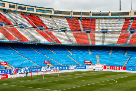 MADRID, SPAIN - FEB 11, 2015: View of the field of the Vicente Calderon Football Stadium. Its the home stadium of La Liga football club Atletico Madrid