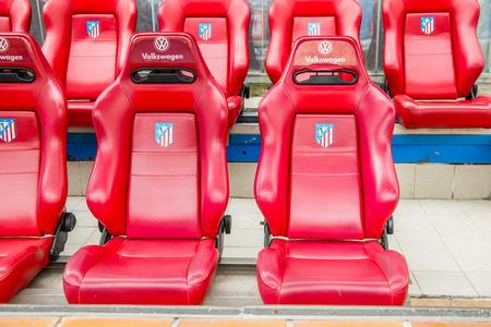 MADRID, SPAIN - FEB 11, 2015: Team seats at the Vicente Calderon Football Stadium. Its the home stadium of La Liga football club Atletico Madrid Editorial