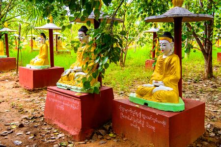 MONYWA, MYANMAR - AUG 27, 2016: Buddha statues at the Maha Bodhi Ta Htaung, a famous Buddhist region and monastery, Monywa Township, Sagaing Area, Myanmar (Burma) Editorial