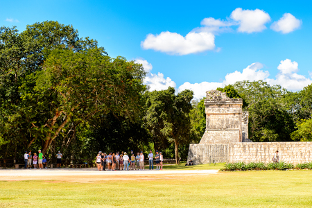 CHICEN ITZA, MEXICO - NOV 5, 2016: Chichen Itza, Tinum Municipality, Yucatan State. It was a large pre-Columbian city built by the Maya people of the Terminal Classic period. UNESCO World Heritage Editorial