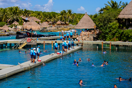 XCARET, MEXICI - NOV 7, 2016: Beautiful beach of the Xcaret,  Maya civilization archaeological site, Yucatan Peninsula, Quintana Roo, Mexico Editorial