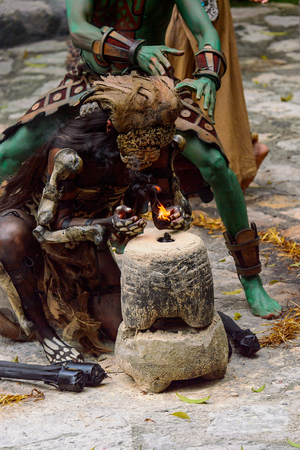 XCARET, MEXICO - NOV 8, 2015: Unidentified man wears a bat costume of a Maya indian. The Mayan are a group of Indigenous people of Mesoamerica Editorial