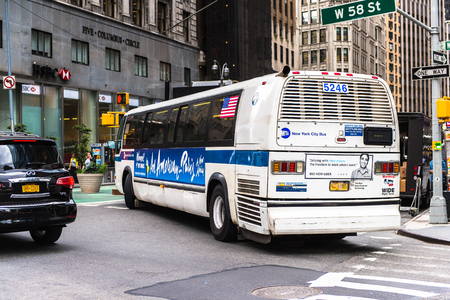 NEW YORK, USA - SEP 22, 2015: Bus on the Broadway street. It is the oldest north south main thoroughfare in New York City Sajtókép