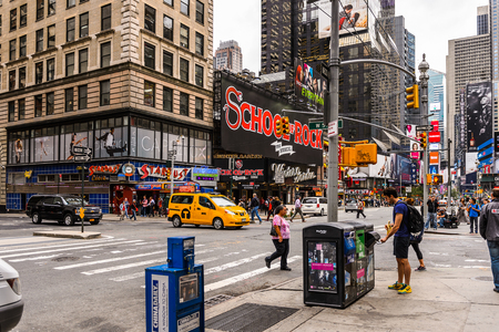 NEW YORK, USA - SEP 22, 2015: Architecture of the Broadway street. It is the oldest north south main thoroughfare in New York City Sajtókép