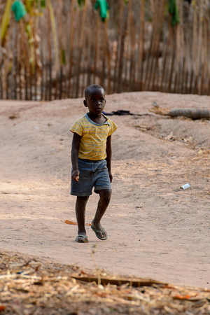 OUSSOUYE, SENEGAL - APR 30, 2017: Unidentified Senegalese little boy walks along the pathway  in the Sacred Forest near Kaguit village