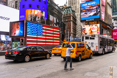 NEW YORK, USA - SEP 22, 2015: Times Square, a major commercial neighborhood in Midtown Manhattan, New York City Editorial