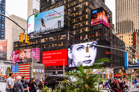 NEW YORK, USA - SEP 22, 2015: Times Square, a major commercial neighborhood in Midtown Manhattan, New York City 新闻类图片