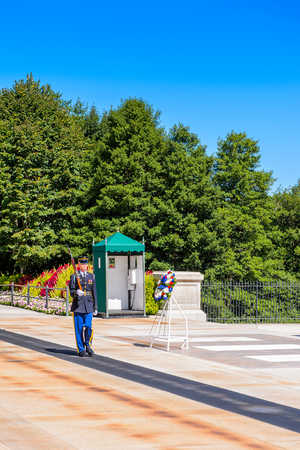 WASHINGTON DC, USA - SEP 24, 2015: Change of the guard near the Unknown Soldier tomb at the Arlington national cemetery. It's a United States military cemetery Editorial
