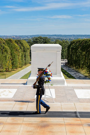 WASHINGTON DC, USA - SEP 24, 2015: Change of the guard near the Unknown Soldier tomb at the Arlington national cemetery. It's a United States military cemetery