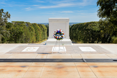WASHINGTON DC, USA - SEP 24, 2015: Tomb to the Unknown Soldier at the Arlington national cemetery. Its a United States military cemetery