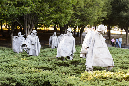 WASHINGTON DC, USA - SEP 24, 2015: Korean War Veterans Memorial, West Potomac Park, Washington, D.C. Korean was from 1950 til 1953.