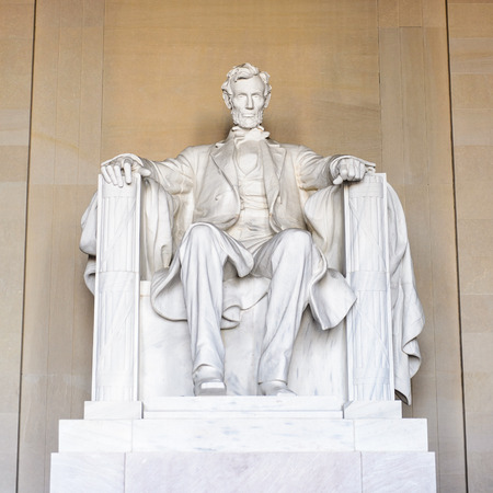 WASHINGTON DC, USA - SEP 24, 2015: Lincoln statue at the Lincoln memorial, Washington DC, USA.Its an American national monument built to honor the 16th President of the United States, Abraham Lincoln