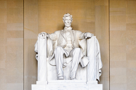 WASHINGTON DC, USA - SEP 24, 2015: Lincoln statue at the Lincoln memorial, Washington DC, USA.It's an American national monument built to honor the 16th President of the United States, Abraham Lincoln