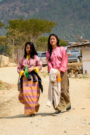 TRIMPHU, BHUTAN - MAR 8, 2017: Unidentified Ngalops . Ngalops is one of the most populous ethnic groups of Bhutan