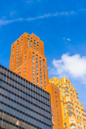 NEW YORK, USA - SEP 22, 2015: Skyscrapers of the of the Lower Manhattan (Downtown). Downtown  was originated at the southern tip of Manhattan Island in 1624