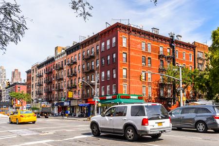 NEW YORK, USA - SEP 22, 2015: Architecture of the Tenth Avenue (Amsterdam Avenue)(Manhattan). Tenth Avenue begins a block below Gansevoort Street