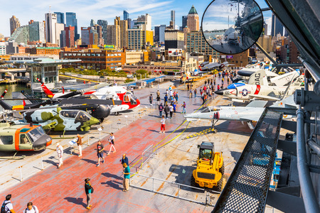 NEW YORK, USA - SEP 25, 2015: Deck of USS Intrepid (The Fighting I), one of 24 Essex-class aircraft carriers built during World War II for the United States Navy (Intrepid Museum) Editorial