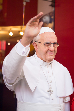 NEW YORK, USA - SEP 22, 2015: Pope Francis in Madame Tussaud  wax museum, TImes Square, New York City. Marie Tussaud was born as Marie Grosholtz in 1761