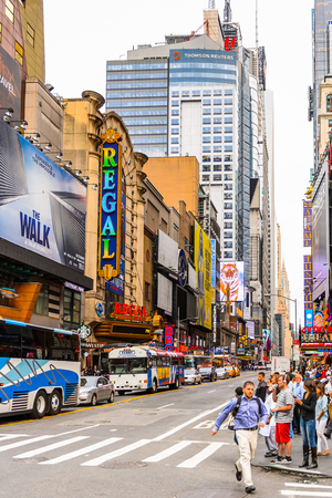 NEW YORK, USA - SEP 22, 2015: Part of the 42nd street (Manhattan), major crosstown street in the New York City borough of Manhattan, known for its theaters Editorial