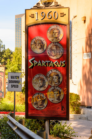 LOS ANGELES, USA - SEP 27, 2015: Spartacus film poster at the Hollywood Universal Studios. Universal Pictures company was created on June 10, 1912 Editorial