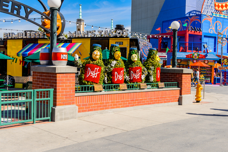LOS ANGELES, USA - SEP 27, 2015: Duff Brewery at The SImpsons area of the Universal Studios Hollywood Park. The Simpsons is an American animated sitcom by Matt Groening
