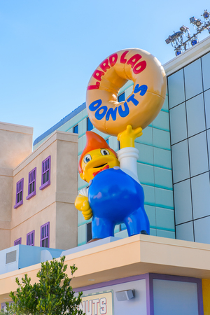 LOS ANGELES, USA - SEP 27, 2015: Lard Lad Donuts at the The SImpsons area of the Universal Studios Hollywood Park. The Simpsons is an American animated sitcom by Matt Groening