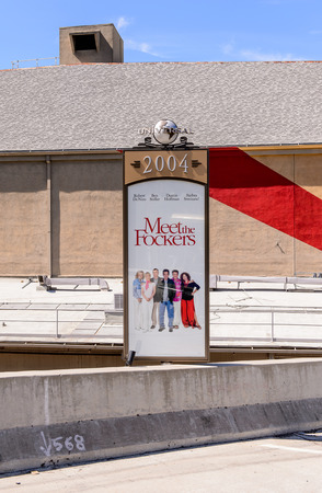 LOS ANGELES, USA - SEP 27, 2015: Meet the Fockers film poster at the Hollywood Universal Studios. Universal Pictures company was created on June 10, 1912