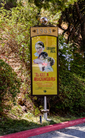LOS ANGELES, USA - SEP 27, 2015: To kill a mockingbird film poster at the Hollywood Universal Studios. Universal Pictures company was created on June 10, 1912