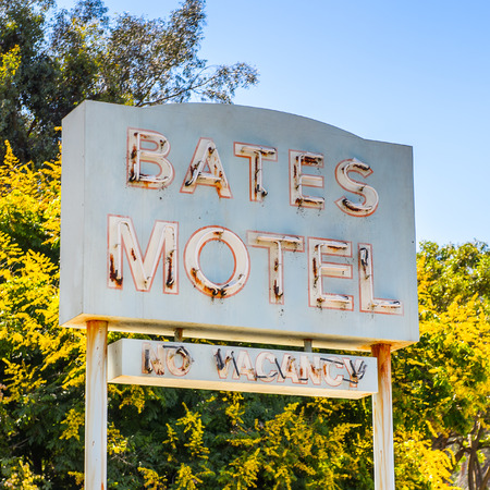 LOS ANGELES, USA - SEP 27, 2015: Bates Motel at the Universal Studios Hollywood Park. Psycho is a 1960 American horror-slasher film by Alfred Hitchcock starring Anthony Perkins