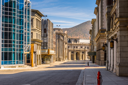 LOS ANGELES, USA - SEP 27, 2015: New York fake architecture at the Hollywood Universal Studios. Universal Pictures company was created on June 10, 1912