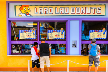 LOS ANGELES, USA - SEP 27, 2015: Lard Lad donuts at The SImpsons area of the Universal Studios Hollywood Park. The Simpsons is an American animated sitcom by Matt Groening Redactioneel