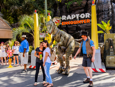 LOS ANGELES, USA - SEP 27, 2015: Velociraptor encounter attraction at Jurassic Park in the Universal Studios Hollywood Park. Jurassic Park is a 1993 American adventure film by Steven Spielberg