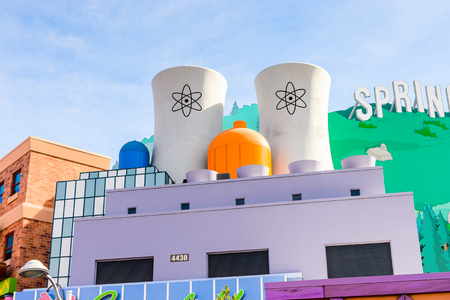 LOS ANGELES, USA - SEP 27, 2015: Nuclear station at The SImpsons area of the Universal Studios Hollywood Park. The Simpsons is an American animated sitcom by Matt Groening