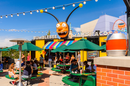 LOS ANGELES, USA - SEP 27, 2015: The SImpsons area of the Universal Studios Hollywood Park. The Simpsons is an American animated sitcom by Matt Groening