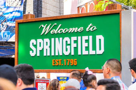 LOS ANGELES, USA - SEP 27, 2015: Welcome to Springfield at The SImpsons area of the Universal Studios Hollywood Park. The Simpsons is an American animated sitcom by Matt Groening