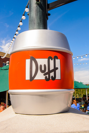 LOS ANGELES, USA - SEP 27, 2015: Duff beer at The SImpsons area of the Universal Studios Hollywood Park. The Simpsons is an American animated sitcom by Matt Groening