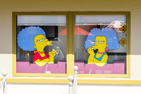 LOS ANGELES, USA - SEP 27, 2015: Marge sisters at The SImpsons area of the Universal Studios Hollywood Park. The Simpsons is an American animated sitcom by Matt Groening