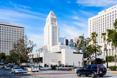LOS ANGELES, USA - SEP 28, 2015: Los Angeles City Hall, California.The building was designed by John Parkinson, John C. Austin and was completed in 1928