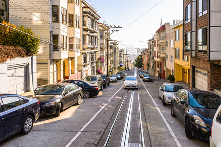 SAN FRANCISCO, USA - OCT 5, 2015: Cable car railway on Powell street in San Francisco. San Francisco is the cultural, commercial, and financial center of Northern California