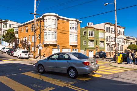 SAN FRANCISCO, USA - OCT 5, 2015: Houses of San Francisco. San Francisco is the cultural, commercial, and financial center of Northern California Editorial